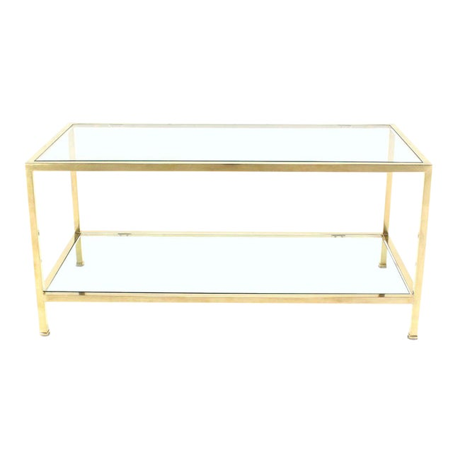 Solid Brass Tube Rectanglar Coffee Table For Sale