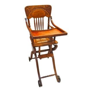 Antique Oak Convertible High Chair Pushchair-Circa 1918 For Sale