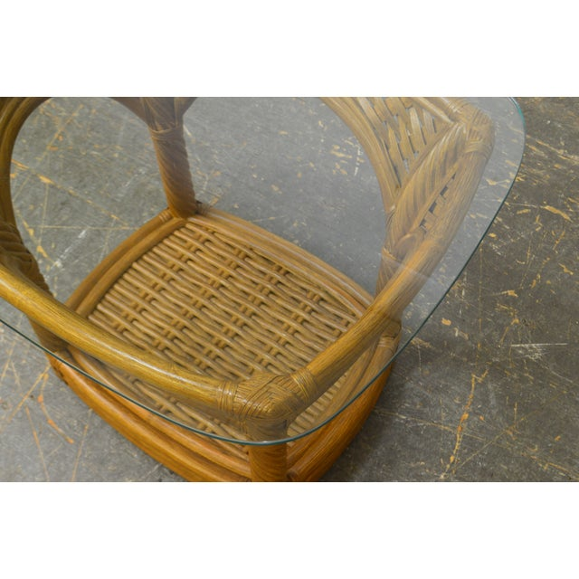 Crate & Barrel Glass Top Rattan Side Table For Sale - Image 10 of 13