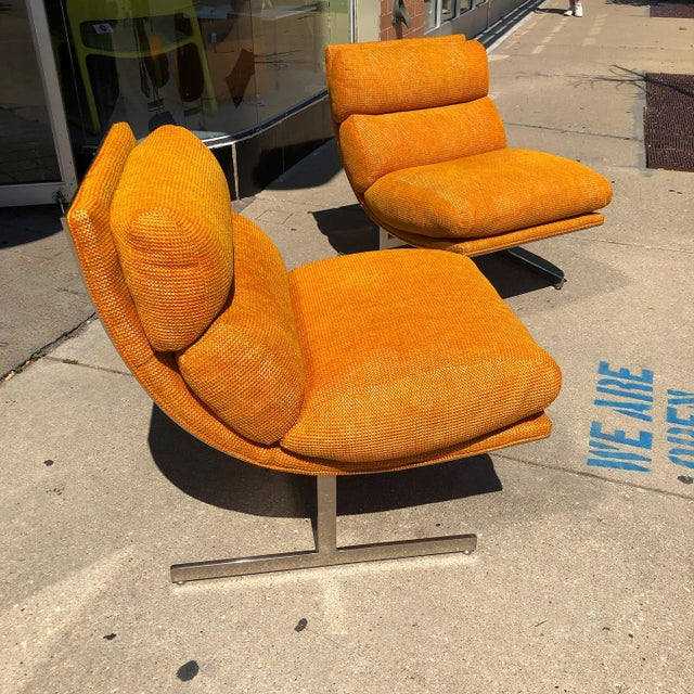 Mid-Century Modern 1970s Steel Framed Scoop Lounge Chairs by Kipp Stewart for Directional - a Pair For Sale - Image 3 of 10