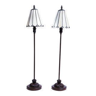 Tall White Slag Table Lamps - A Pair