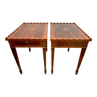 Pr of Federal Mahogany Inlay End Tables by Hekman For Sale