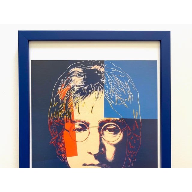 """This Andy Warhol Estate rare vintage 1990 custom framed iconic offset lithograph Pop Art print """" John Lennon """" 1986, is an..."""
