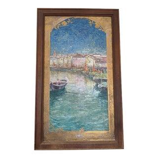 Late 19th Century Art Nouveau Style Maritime Scene Enamel Plaque Painting, Framed For Sale