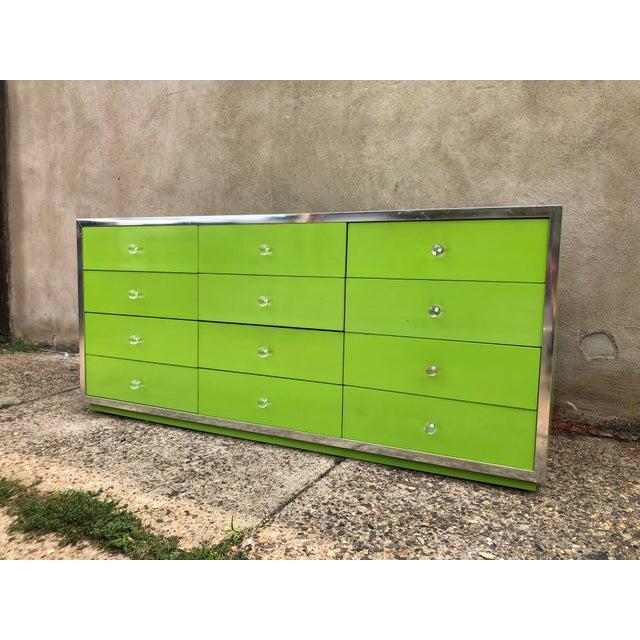 Green 1970s Mid-Century Modern Thomasville Lowboy Dresser For Sale - Image 8 of 8