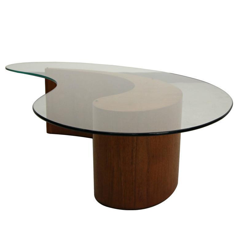Vladimir Kagan For Selig Biomorphic Walnut Comma Apostrophe Coffee Table