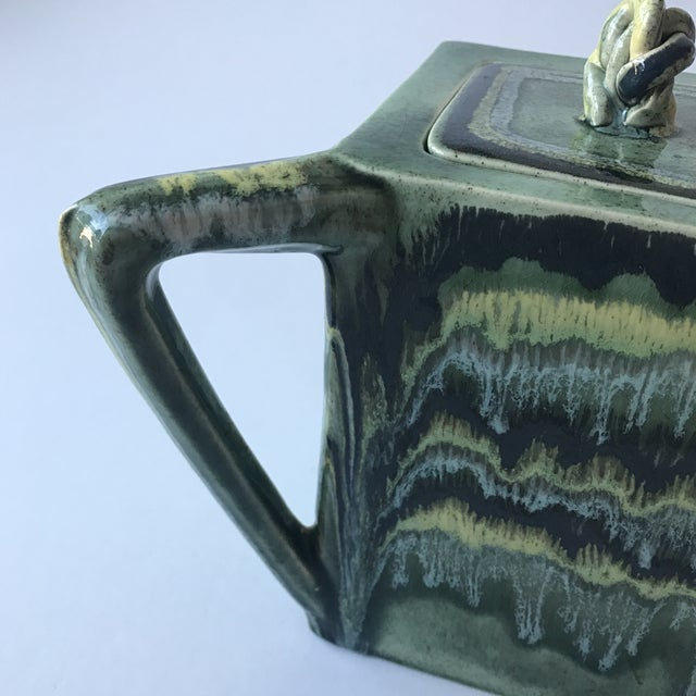 Ceramic California Green Ceramic Drip Glaze Pitcher For Sale - Image 7 of 11