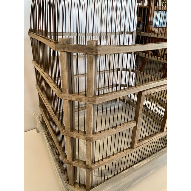 1950s Large Painted Grey Wood & Wire Birdcage For Sale - Image 5 of 12