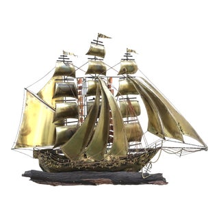 1970s Brass Ship Wall Sculpture For Sale