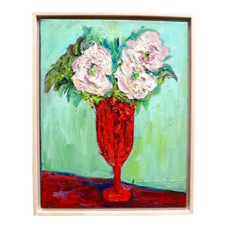 Impressionist Painting, French Roses in a Red Vase For Sale