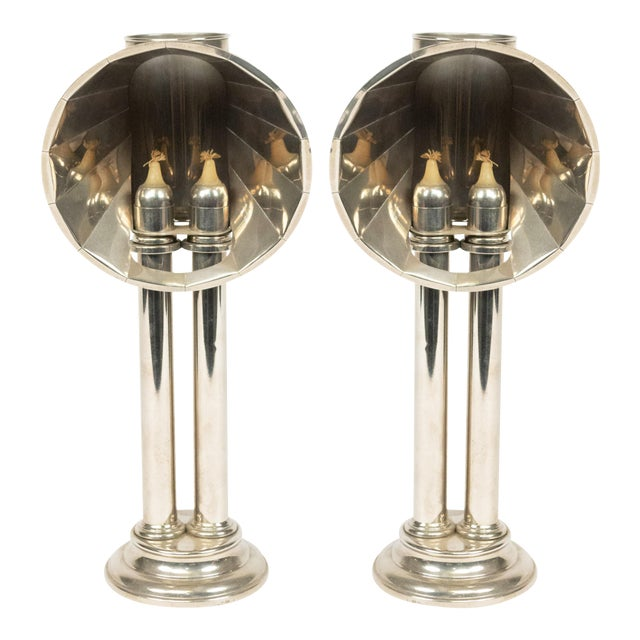 English Victorian Silver Plated Student Lamps, Pair For Sale
