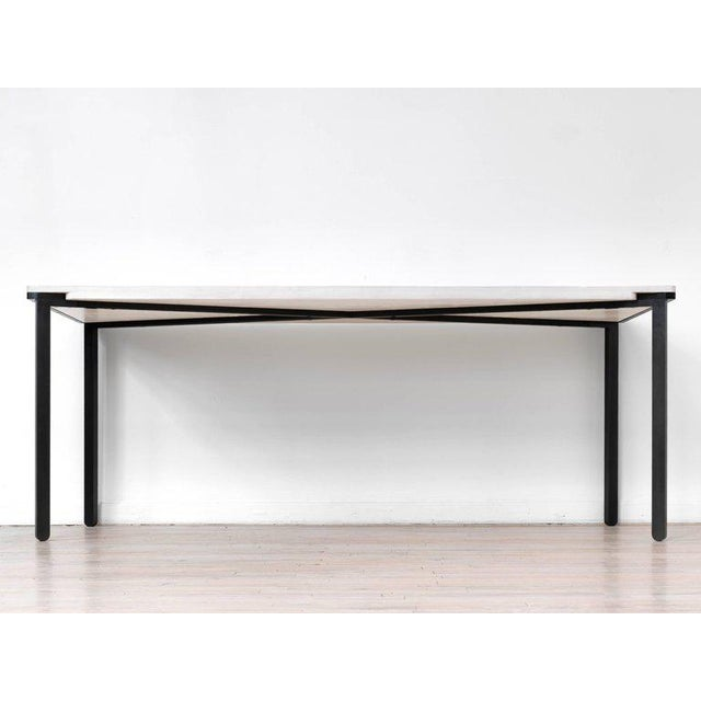 Contemporary Contemporary Blackened Steel and White Washed Maple Bow Tie Table For Sale - Image 3 of 7