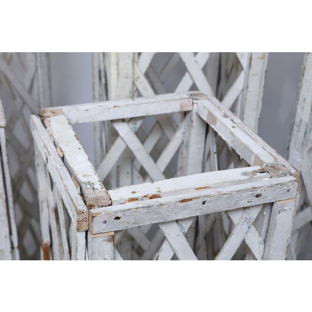 Vintage French Painted Trellis For Sale - Image 4 of 13