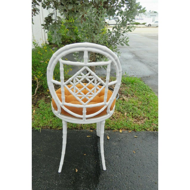 1970s 1970s Vintage Hollywood Regency Painted Iron Faux Bamboo Side Chair Stool by Kessler For Sale - Image 5 of 13