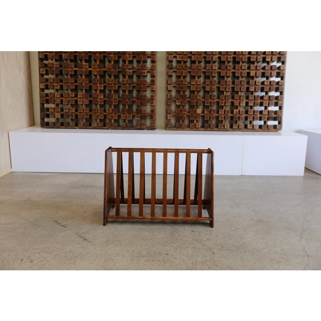 Mid-Century Modern Mid 20th Century John Nyquist Handcrafted Shedua Wood Magazine Rack For Sale - Image 3 of 10