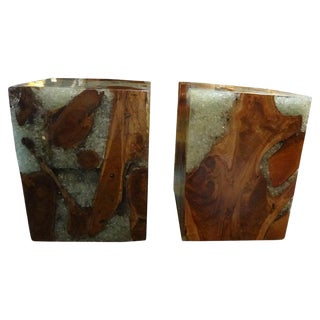Vintage Mid Century Organic Modern Fractal Resin and Wood Cubes- a Pair For Sale