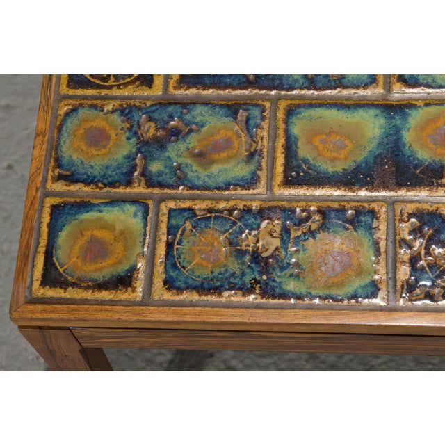 Blue 1960s Danish Modern Rosewood and Tile Coffee Table For Sale - Image 8 of 10