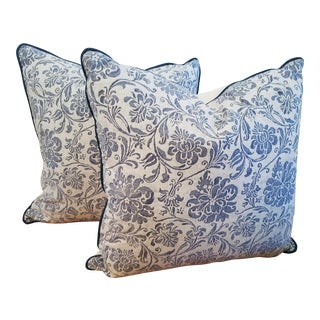 1970s Baroque Mariano Fortuny Blue and White Cotton Pillows - a Pair