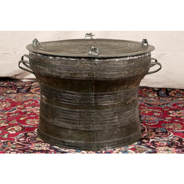 Gold South Asian Bronze Rain Drum Table For Sale - Image 8 of 10