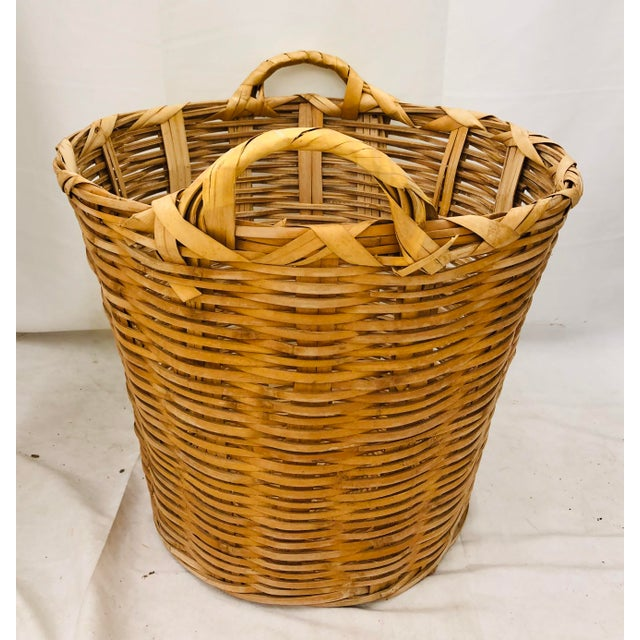 Vintage Natural Woven Wicker Laundry Basket For Sale - Image 9 of 9