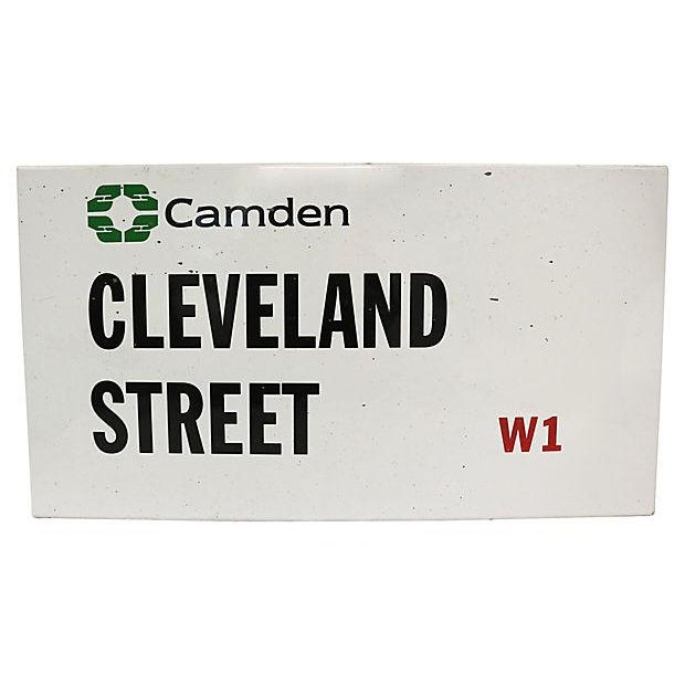 London Borough of Camden, Cleveland Street road sign. No maker's mark. Light wear.