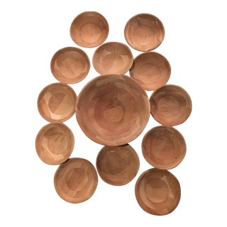 Wood Salad Bowl & Serving Bowls - Set of 13 For Sale