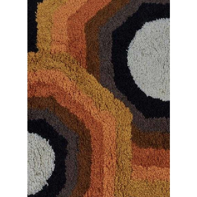 """Rya wool area rug with kaleidoscopic pattern produced in Finland in the 1960s. Dimensions: 60"""" x 36 1/2"""" Good vintage..."""
