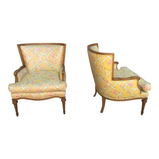 Vintage Pair of Shabby Chic Accent Club Chairs