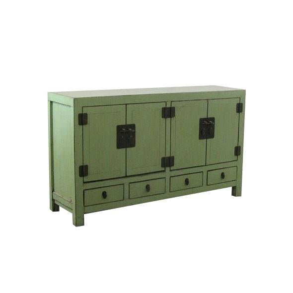 Up for sale is an antique Chinese Northern country-style light-green lacquered square-corner sideboard, Liantigui, which...