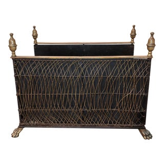 Regency Period Iron and Brass Firewood Holder For Sale