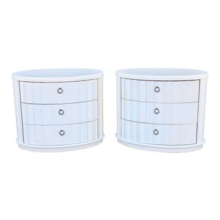 Bernhardt Oversized Oval White Lacquer Nightstands - a Pair For Sale