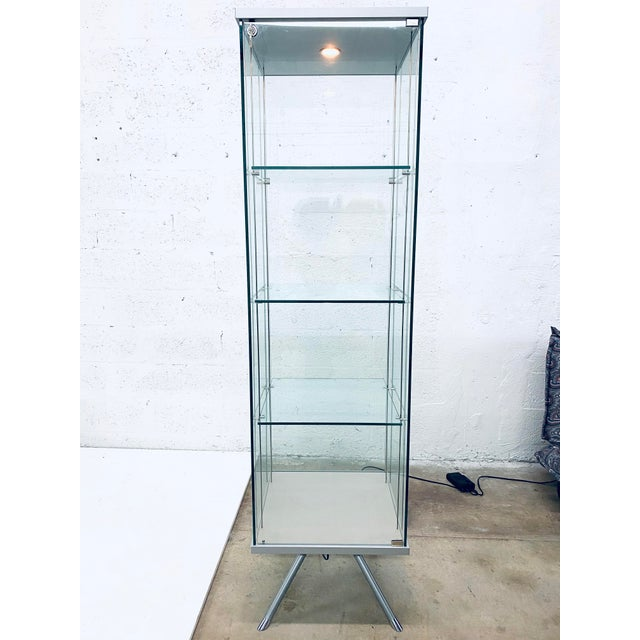 Contemporary Glass Curio / Vitrine With Spot Lamp For Sale - Image 13 of 13