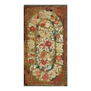 Late 19th Century Antique American Hooked Rug - 2′11″ × 5′2″ For Sale