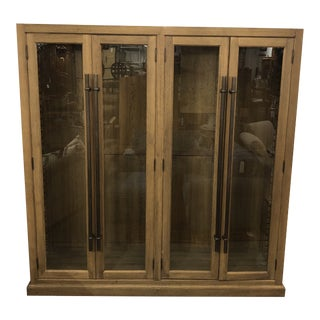 Restoration Hardware 20th C. Display English Brass Bar Pull Glass 4-Door Cabinet For Sale