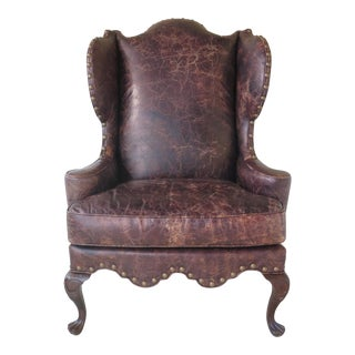 Century Distressed Leather Wing Chair With Drake Feet For Sale