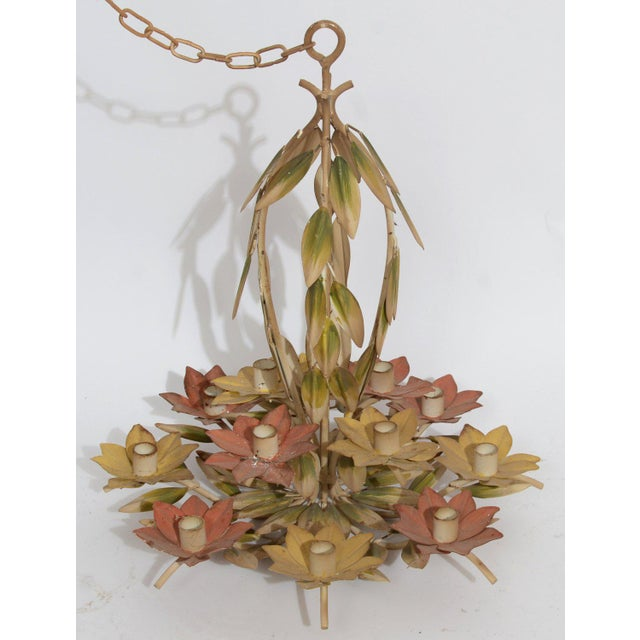 Boho Chic 1960s Green and Pink Tole Floral Candle Chandelier For Sale - Image 3 of 4