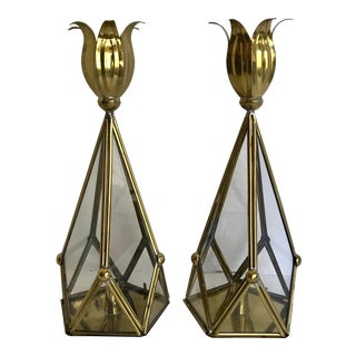 Vintage Brass and Glass Mexican Candle Holder Pair For Sale