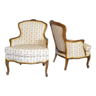 Vintage Louis XV Style Bergere Chairs - a Pair For Sale