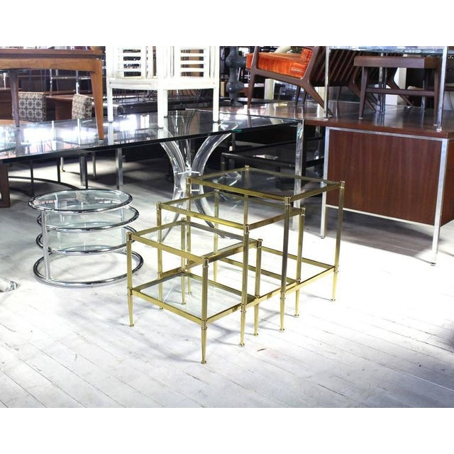 Set of Three Mid-Century Modern Brass Nesting End Tables For Sale - Image 9 of 9