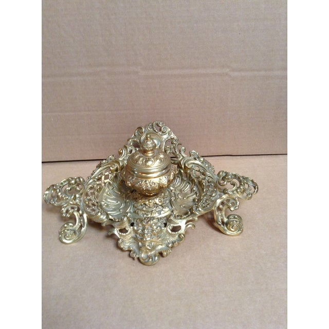 Excellent condition antique inkwell in brass ornate base.