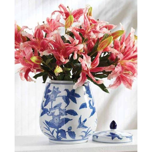 Chinese Barclay Butera Blue & White Floral Ginger Jar For Sale - Image 3 of 7