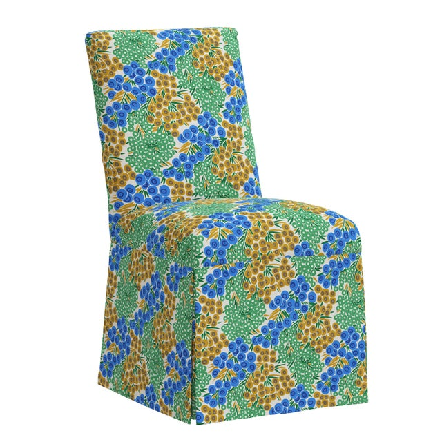 Blue Slipcover Dining Chair in Loiret Blue Citrine For Sale - Image 8 of 8
