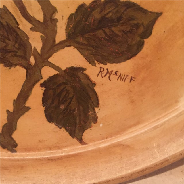 Antique Etched Cream & Gold Tole Tray - Image 4 of 7
