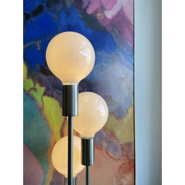 Chrome 1970s Mid Century Modern Robert Sonneman Waterfall 5-Globe Lamp For Sale - Image 8 of 10
