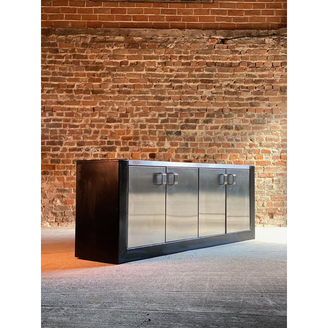 Silver Paul Evans Custom Steel Sideboard Credenza, USA, circa 1970 For Sale - Image 8 of 13