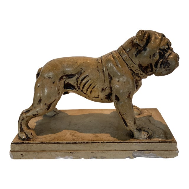 Ceramic Bulldog Statue or Bookend Made in Japan For Sale