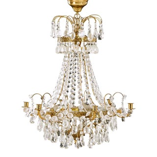 1950s 6 Arm Crystal Empire Chandelier With Cut Crystals For Sale