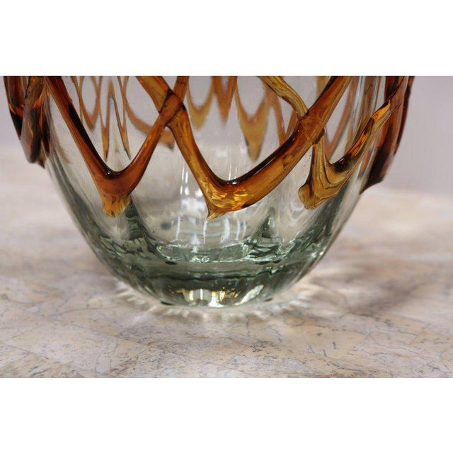 Glass Fluted Handkerchief Vase with Amber Ribbon For Sale - Image 7 of 8