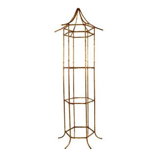 Pagoda Form Etagere, Parcel Gilded For Sale