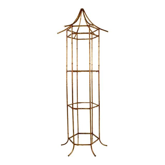 Pagoda Form Etagere, Parcel Gilded For Sale